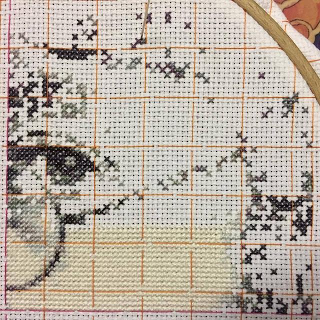 Photorealistic john lennon in progress cross stitch