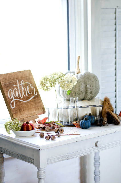 table-pumpkins-hydrangeas-gather
