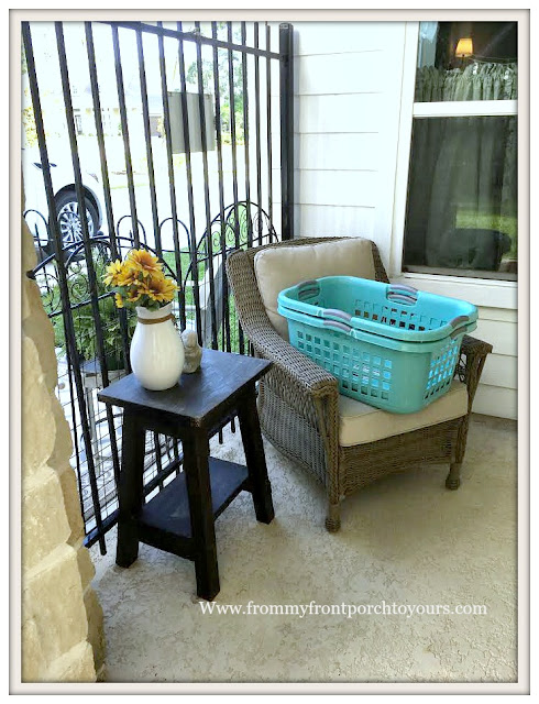 covered back porch-wicker chair-side table-sitting area- from my front porch to yours
