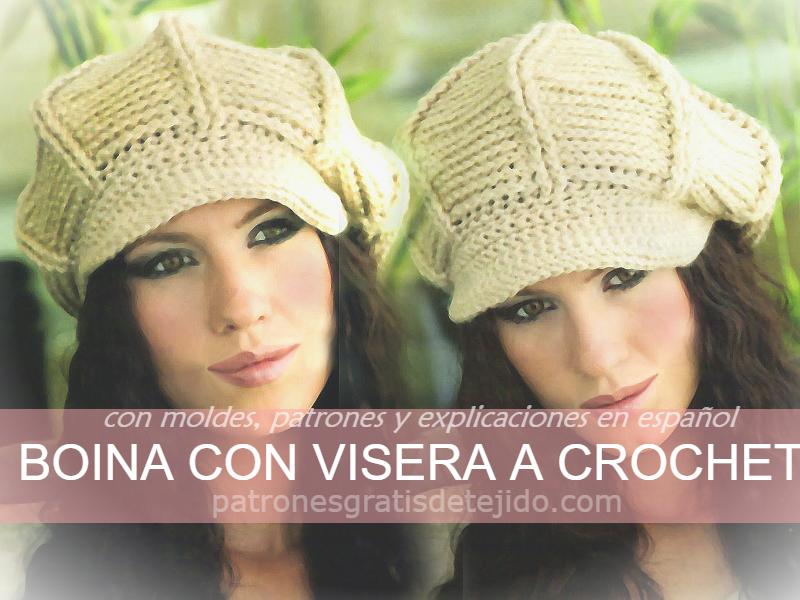 Así se teje Gorro/Boina con Visera a Crochet | Crochet y Dos agujas ...
