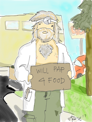 "An older man with wild gray shoulder length hair and a bushy grey beard, no shirt with a large tuft of grey chest hair, is wearing a labcoat with a speculum in the pocket and dirty green cargo pants with the fly open. On his head he wears an old fashioned doctor's head mirror. Standing on the corner of a city with a CVS and parked cars visible in the background, he holds a cardboard sign that reads, ""Will PAP 4 food."""