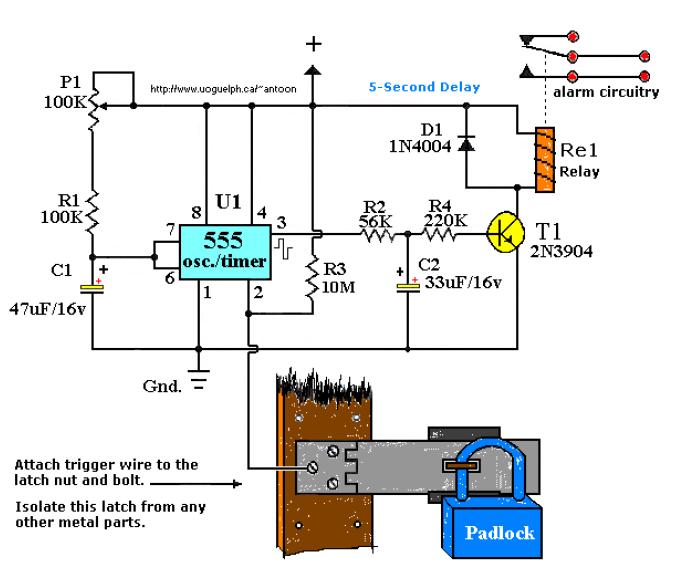 555 Car Alarm Circuit Diagram
