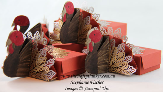 #thecraftythinker, #stampinup, #thanksgivingtablefavor, #turkeytabledecoration, Thanksgiving, turkey table favour, Stampin' Up Australia Demonstrator, Stephanie Fischer, Sydney NSW