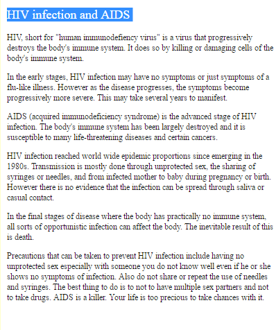 Essay on hiv and aids