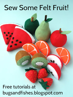 Free DIY felt fruit sewing tutorials