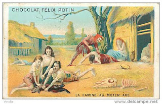 Chromo Chocolat Felix Potin : La famine au Moyen Age