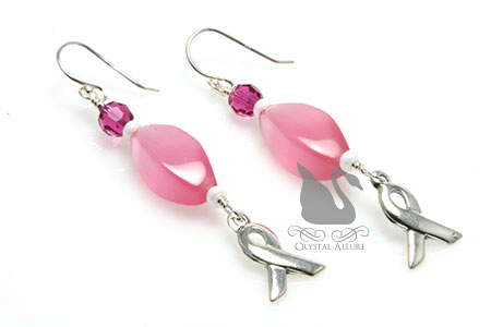 Pop of Pink Breast Cancer Awareness Ribbon Earrings (EA301)