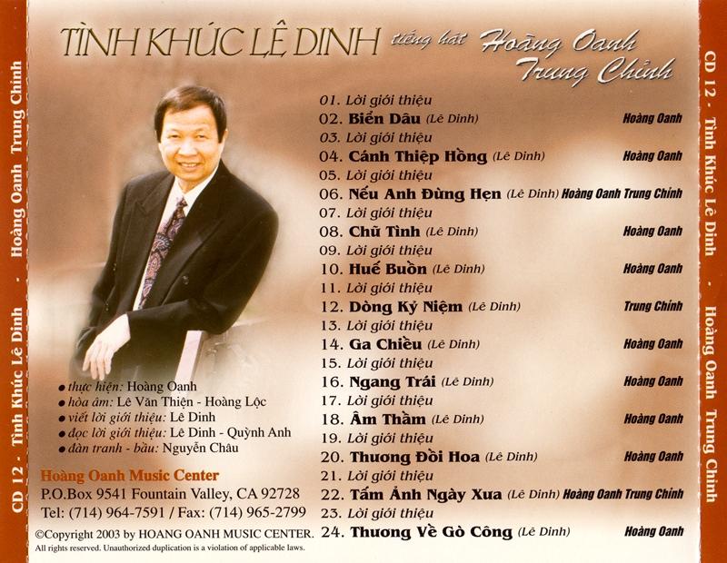 Hoàng Oanh CD13 - Tình Khúc Lê Dinh (NRG) + bìa scan mới