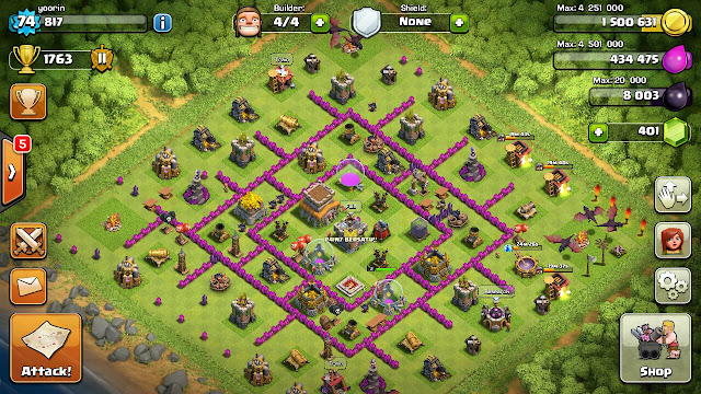 COC, COC base, Gems, Level 74, SuperCell