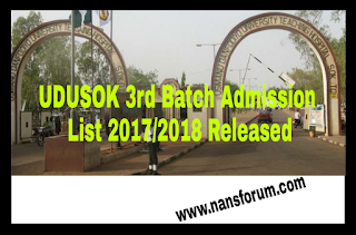 UDUSOK 3rd Batch Admission List 2017/2018 Released