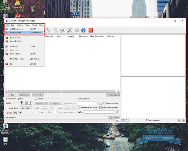 Masukan Gambar Ke Dalam Aplikasi Caesium Add Pictures Atau Open Folder -Cara Kompres / Mengurangi Ukuran (Size) Gambar atau Foto Tanpa Mengurangi Kualitas Gambar - Teratasi.Com