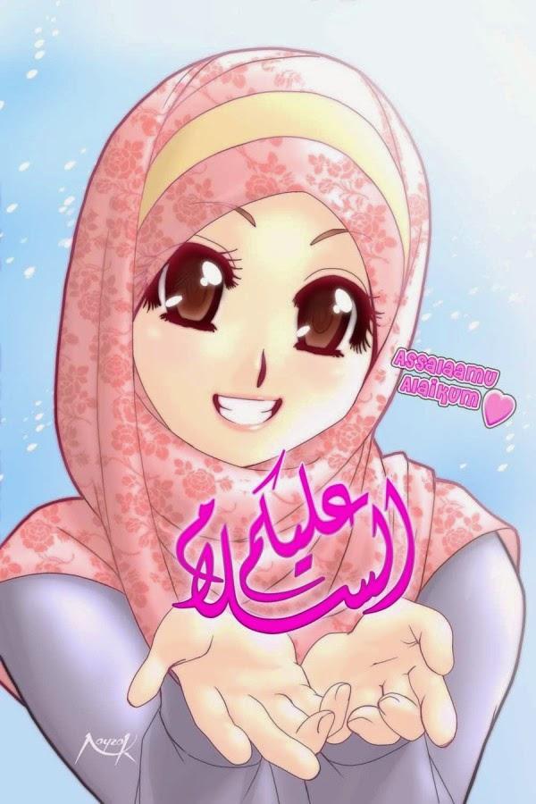 Gambar Kartun Wanita Muslimah Berjilbab Cantik Dan Anggun Dp Bbm
