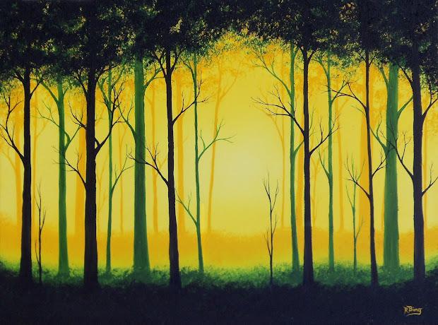 Surreal Landscape Painting Original Green