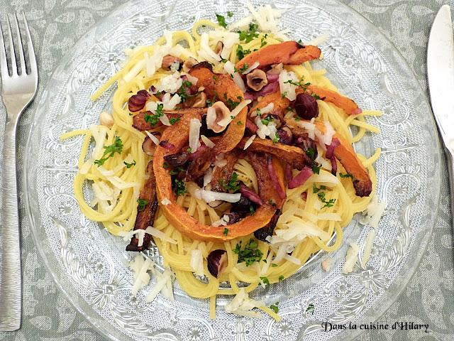 Spaghettis au potimarron roti, nuance de noisettes, bacon et fromage de brebis