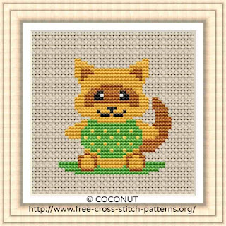 BABY RACCOON, FREE AND EASY PRINTABLE CROSS STITCH PATTERN