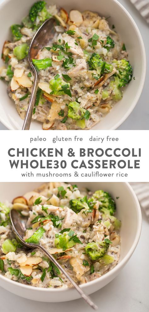 Whole30 Casserole with Chicken, Broccoli, Rice, and Mushrooms (Paleo,Low Carb)