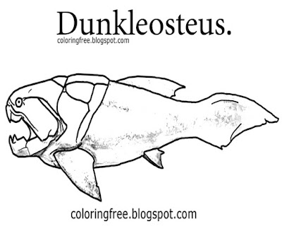 Simple outline prehistoric ocean picture Dunkleosteus dinosaur fish coloring in pages for children