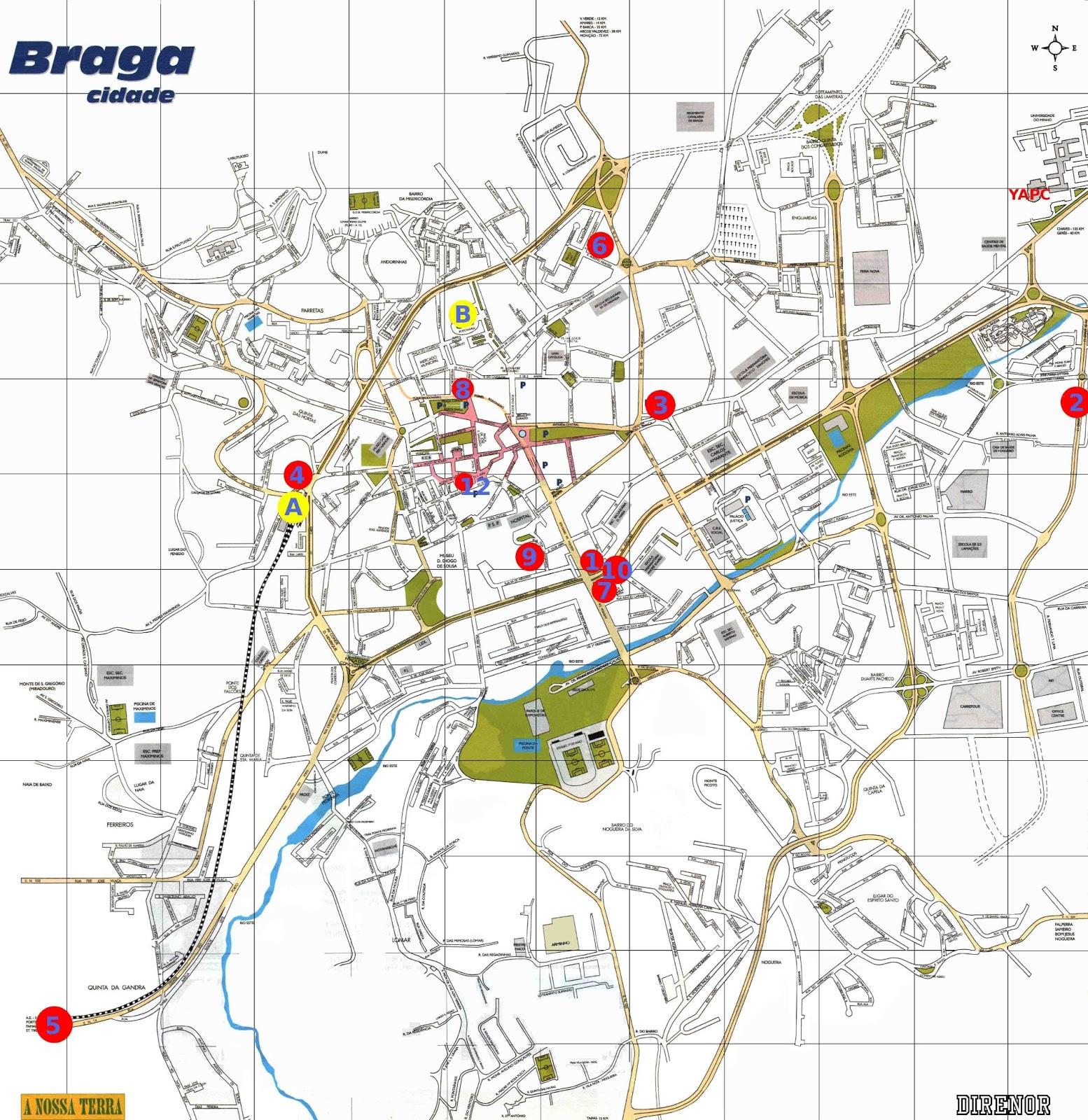 mapa do centro de braga Mapas de Braga   Portugal | MapasBlog mapa do centro de braga