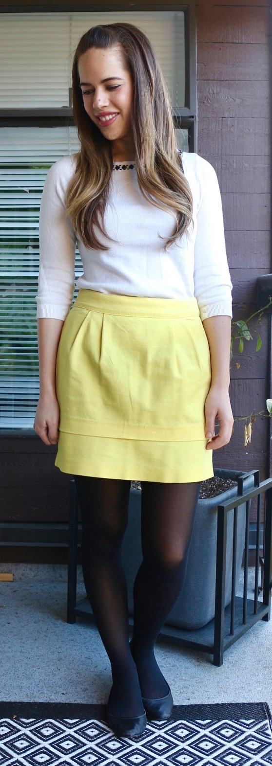 Jules in Flats - Yellow Skirt