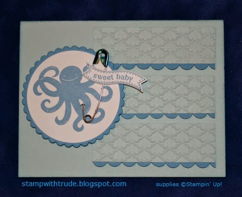 http://stampwithtrude.blogspot.com Stampin' Up! baby card by Trude Thoman Sea Street stamp set