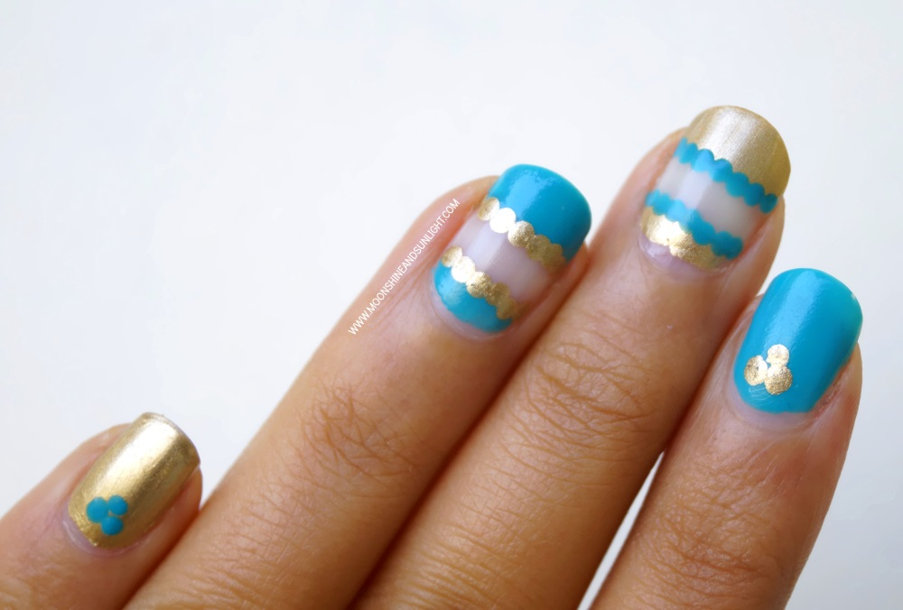 Teal and Gold Negative Space Nail art | Step by step tutorial ...