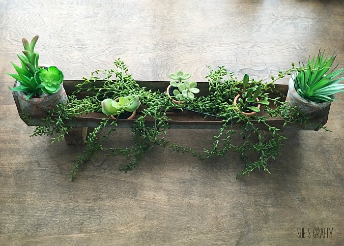 Vintage Chicken Feeder made into a Succulent Holder - place long stems in bottom of chicken feeder