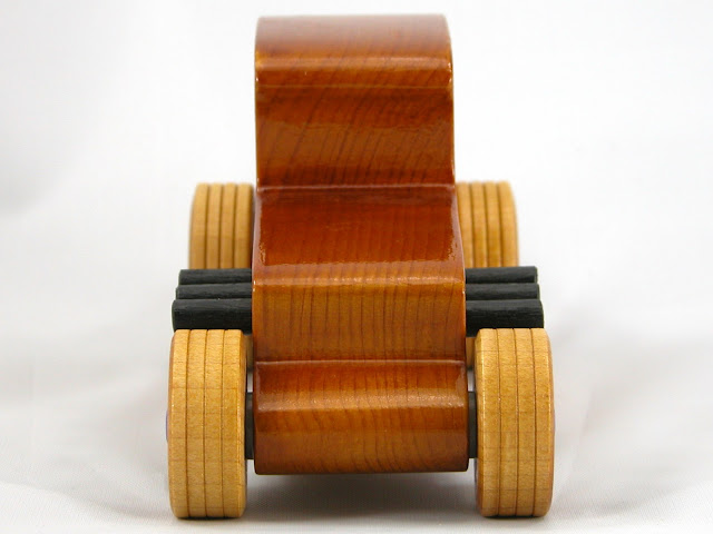 Front -  Wooden Toy Car - Hot Rod Freaky Ford - 27 Coupe - Pine - Amber Shellac - Metallic Purple Hubs