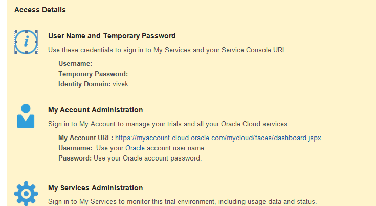 SOA Cloud Service Registration Email
