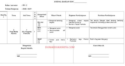 JURNAL HARIAN KELAS 3 SEMESTER 2 K13 REVISI 2018