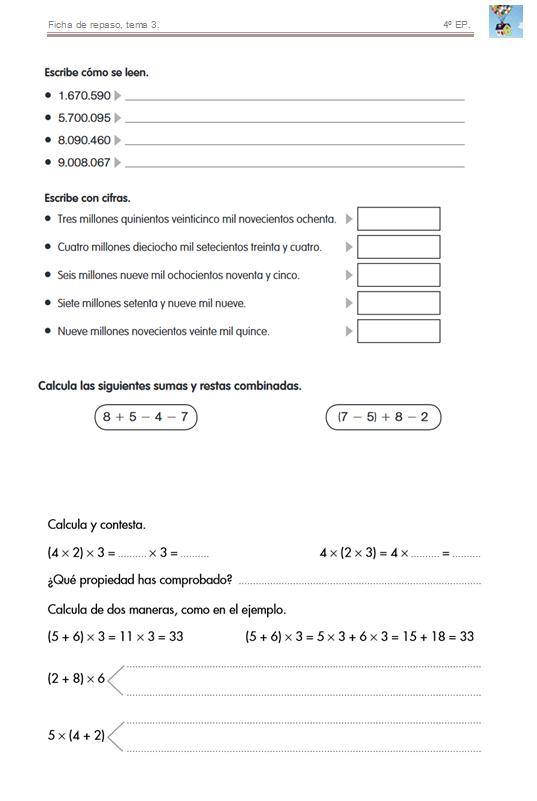 Bienvenidos a cuarto de primaria! : Fichas de repaso, matemáticas.
