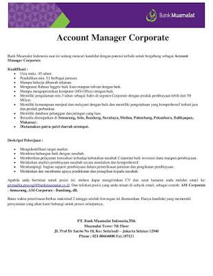 Lowongan Pekerjaan Bank Di Palembang Informasi Lowongan Kerja Loker Terbaru 2016 2017 Lowongan Kerja Account Manager Corporate Pt Bank Muamalat Indonesia