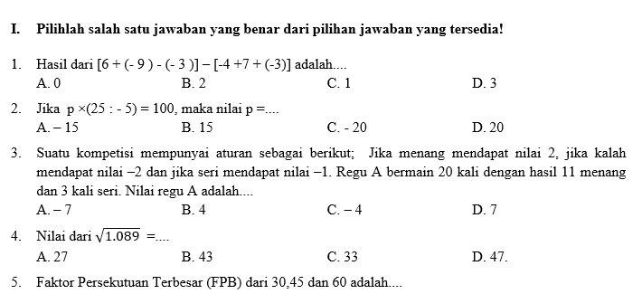 Bank Soal Matematika Smp Kurikulum 2013