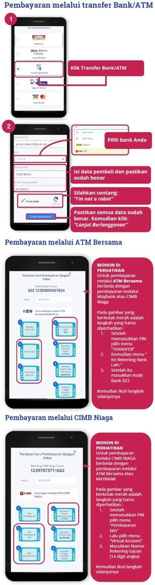 pembayaran quipper video lewat transfer bank/ATM