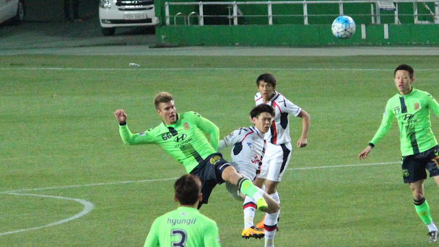 Up for the challenge: Erik Paartalu makes his competitive debut for Jeonbuk Hyundai during the ACL 2-1 win over FC Tokyo.