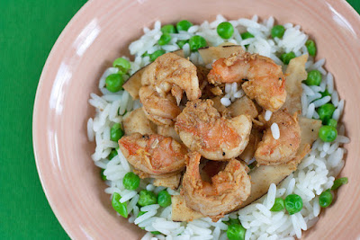 Shrimp over rice pilaf