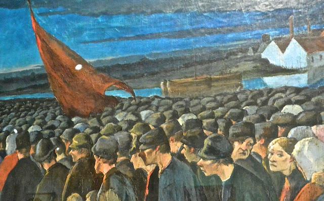 Bruxelles : musées royaux des beaux-arts Musée fin du siècle  Eugène Laermans Soir de grève, Le drapeau rouge