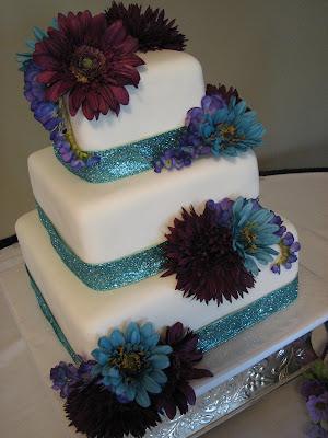 Decadent Designs Brandy S Turquoise And Purple Wedding Cake