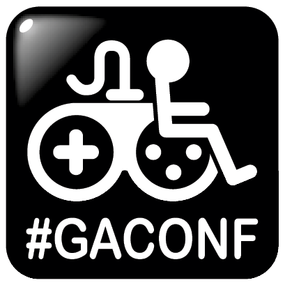 White on black icon, of the Game Accessibility Information symbol, of a gamepad rider, over the text, hash-tag, g.a. conf.