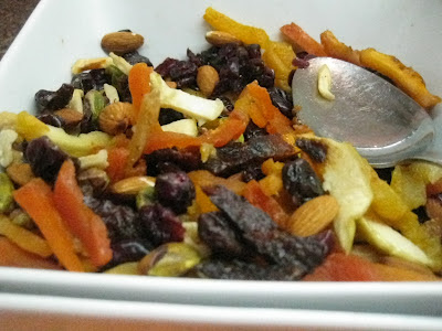 dried fruit mix in a white bowl