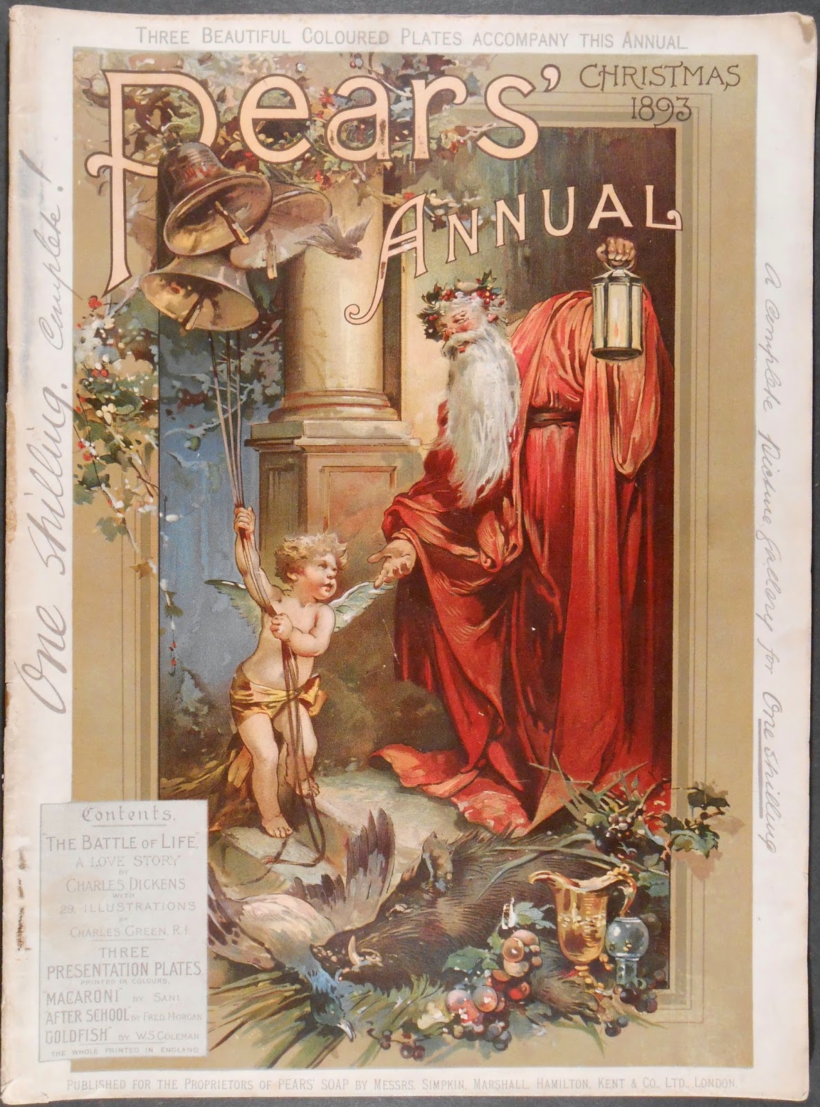 A cover for Pear's Annual, featuring a red-robed Father Christmas extending a hand to cherub ringing a set of bells.