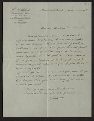 Letra manescricha de Loís Alibèrt a F. P. Raynal, sus Occitanica, fons Cirdòc