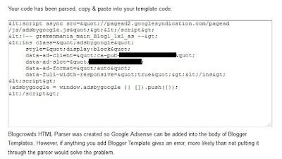 Tidak perlu menuggu lama, setelah beberapa detik kode iklan sudah diparse.