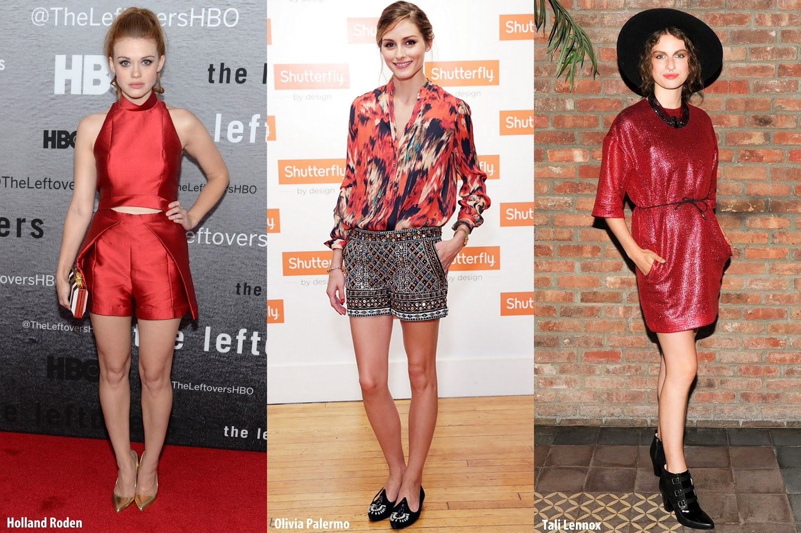 9fadf0f3726 Holland Roden rocked a ruby cropped top and shorts set by Paper London with  gold metallic Rupert Sanderson pumps. Olivia Palermo savvily mixes prints  in ...
