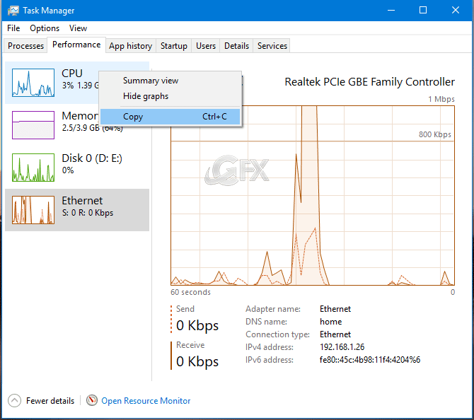 Copy Performance Information from the Task Manager App in Windows 10 - www.ceofix.net