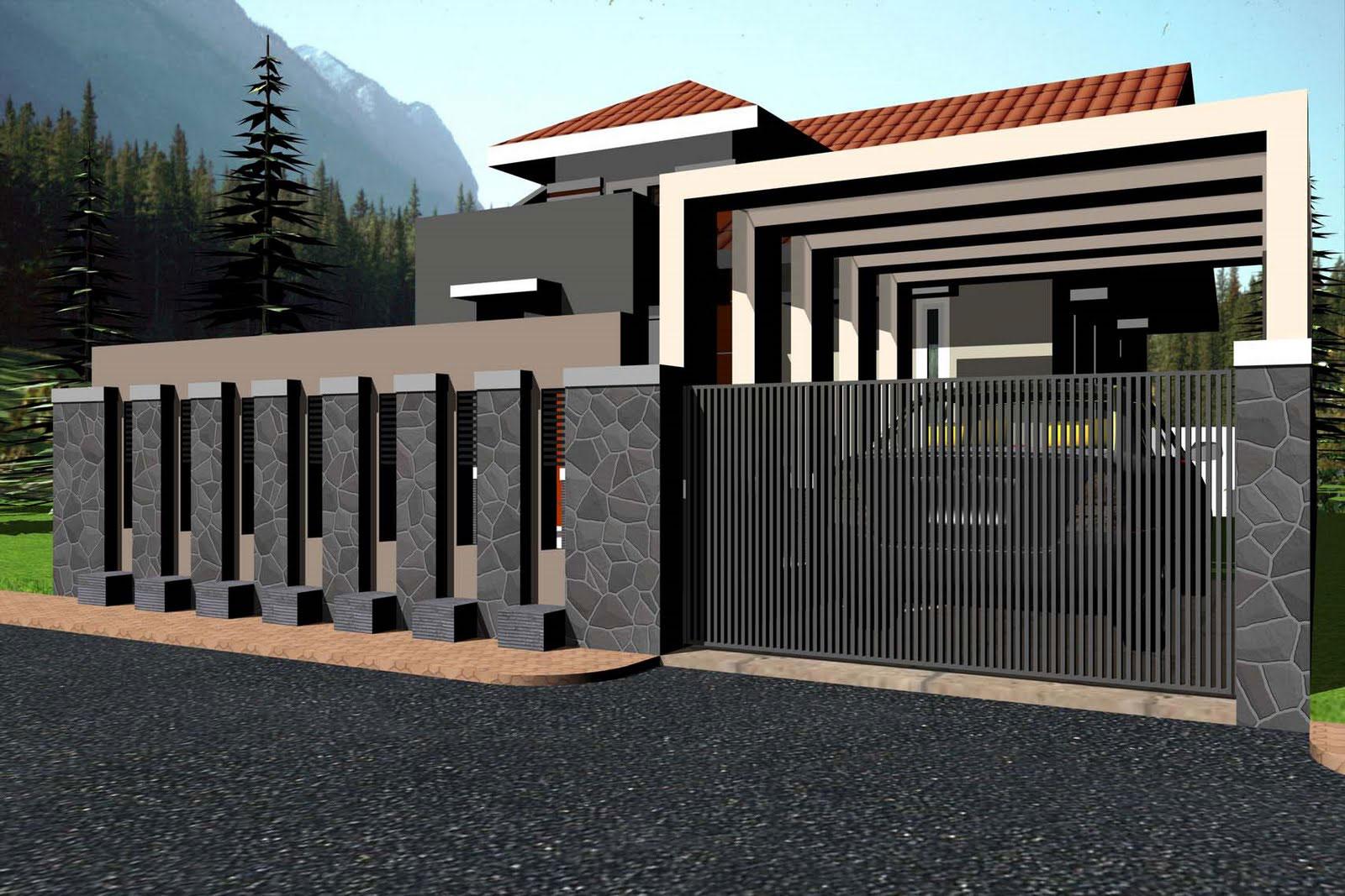 70 Desain Pagar Rumah Minimalis Kayu dan Besi