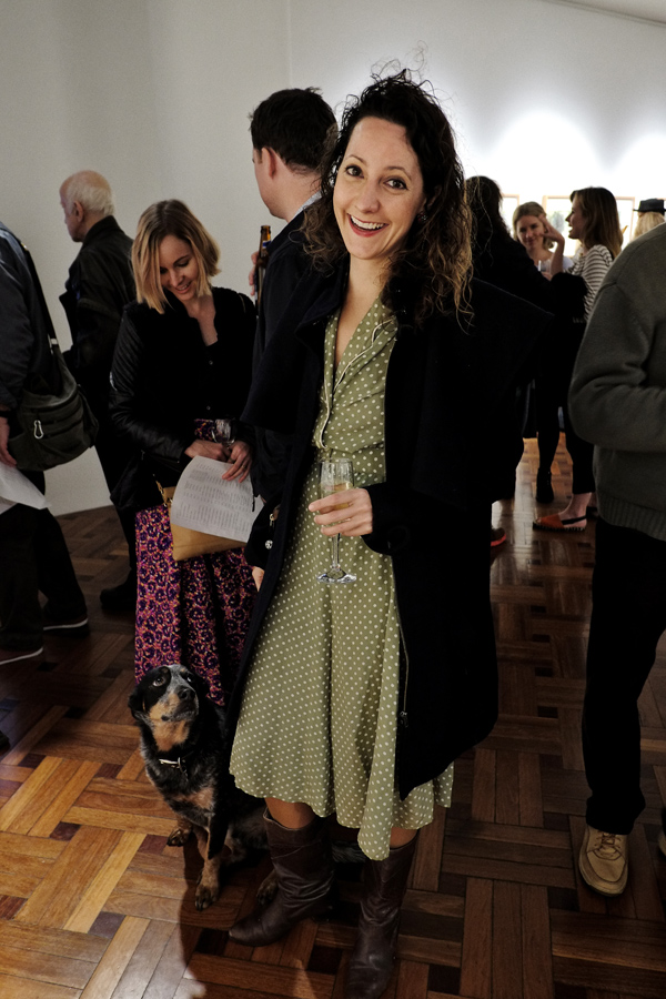 Artist Justine Muller and her admiring cattle dog Denzel at King on William. Photography by Kent Johnson for Street Fashion Sydney.