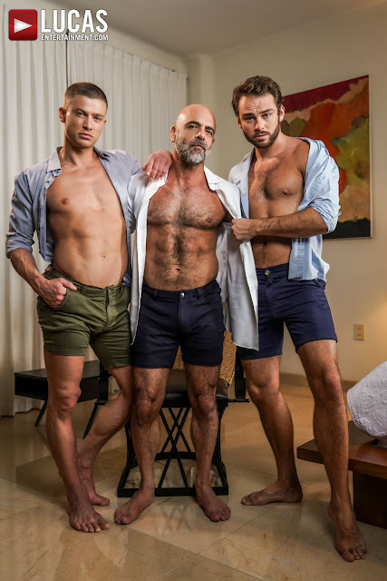 #LucasEntertainment - MAX ADONIS SHARES ADAM RUSSO'S DADDY COCK WITH RUSLAN ANGELO