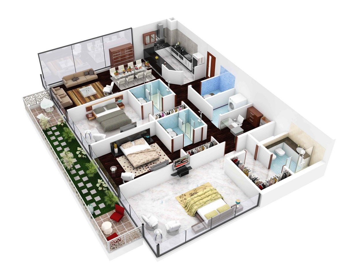 Insight of 3 bedroom 3d floor plans in your house or for Terrace layout