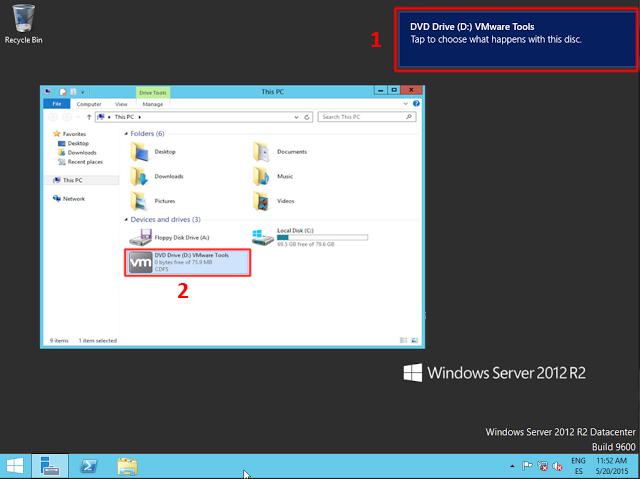DVD virtual con los archivos de instalación de las VMware tools.