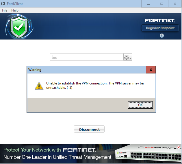 Forticlient Unable To Establish The Vpn Connection
